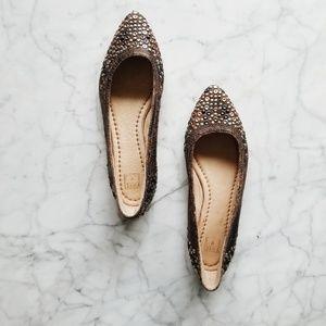 Frye Regina Studded Leather Ballet Flats - 6M